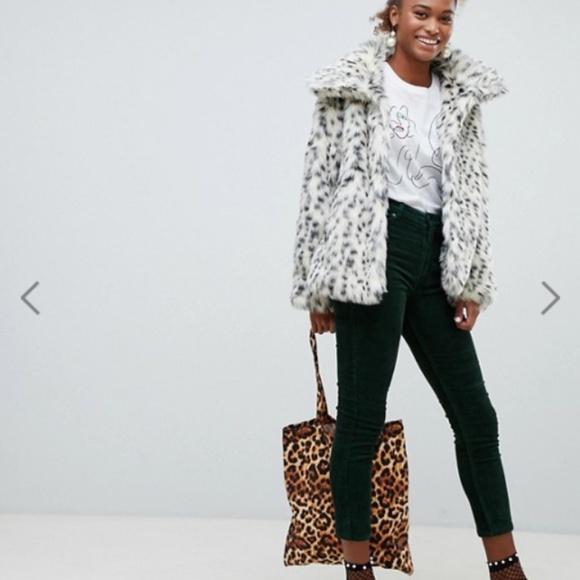 d34e7702c408 ASOS Jackets & Blazers - Monki Faux Fur Leopard Print Jacket Black/White